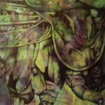 """Tettigonia Virdissima"", 2013, colori ad olio e penna su carta, 107 x 92 cm"