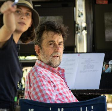 Nanni Moretti, una foto sul set del film Tre piani