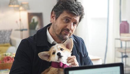 Fabio De Luigi con il cane Ciro in Ridatemi mia moglie